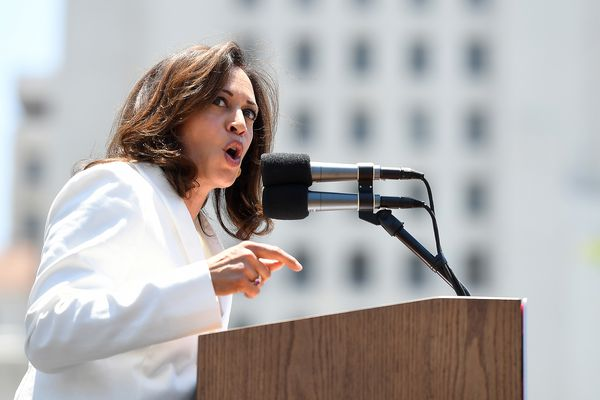 Sen. Kamala Harris (D-Calif.) speaks during a rally in downtown Los Angeles against the Trump administration's immigration policies on June 30, 2018. (Wally Skalij/Los Angeles Times/TNS)