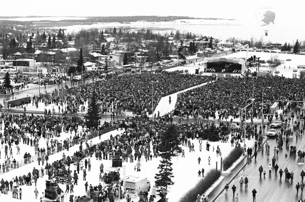 Nearly 40,000 people crowd the Delaney Park Strip in Anchorage for Mass with Pope John Paul II during the Pope's visit to Alaska in 1981. (Fran Durner / ADN archive)