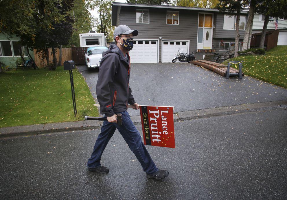 Rep. Lance Pruitt campaigns door-to-door for reelection to his seat in the Alaska Legislature in a neighborhood in east Anchorage on Sept. 15, 2020. (Emily Mesner / ADN)