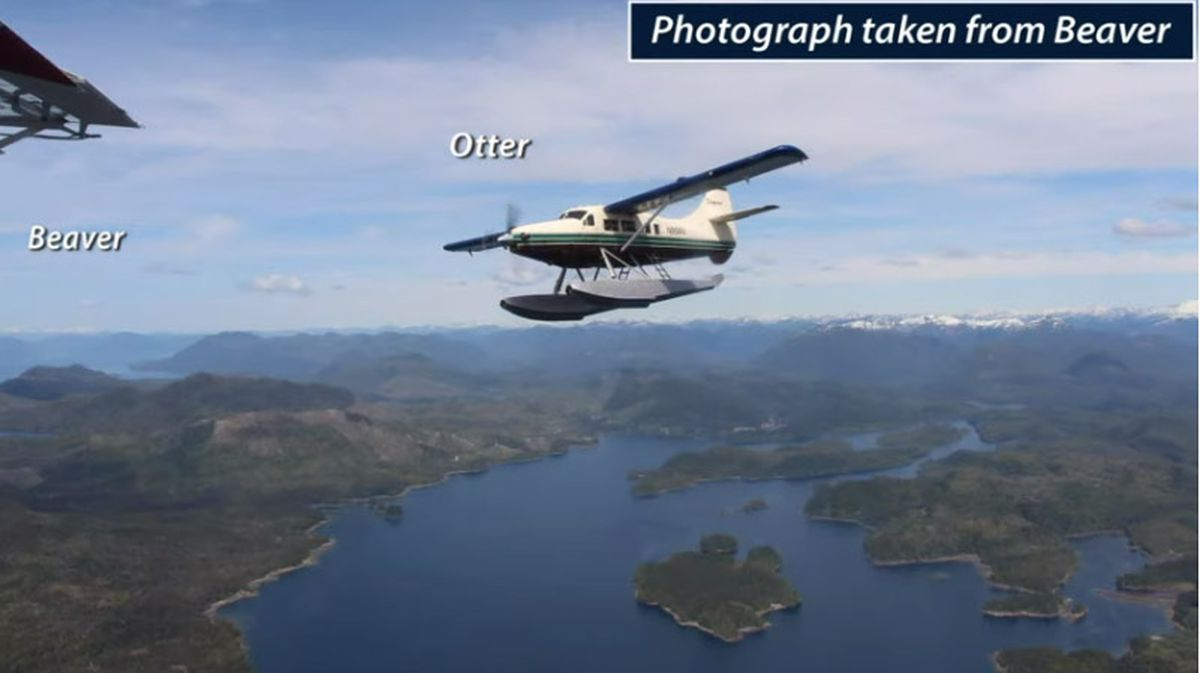 This photograph of a plane involved in a midair collision near Ketchikan was taken by a passenger seconds before the May 13, 2019 accident over George Inlet that killed six people and injured 10. (Screenshot of NTSB video)