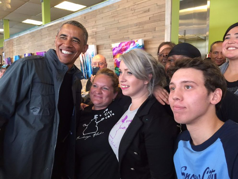 President Barack Obama visits Snow City Cafe on Monday, Sept. 1, 2015, in Anchorage.