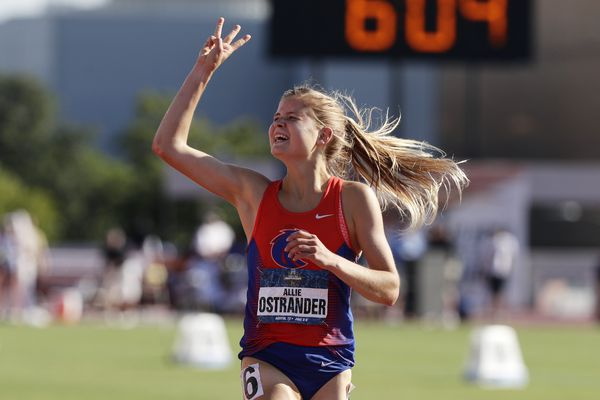 Boise State's Allie Ostrander celebrates as she wins the women's 3000-meter steeplechase during the NCAA outdoor track and field championships in Austin, Texas, Saturday, June 8, 2019. Ostrander has won three consecutive years. (Eric Gay / Associated Press)