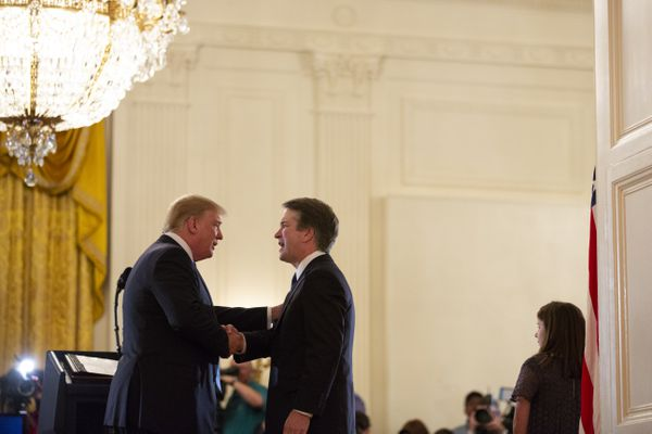 President Donald Trump shakes hands with Brett Kavanaugh, his Supreme Court nominee, in the East Room of the White House, Tuesday, July 10, 2018, in Washington. (AP Photo/Evan Vucci)