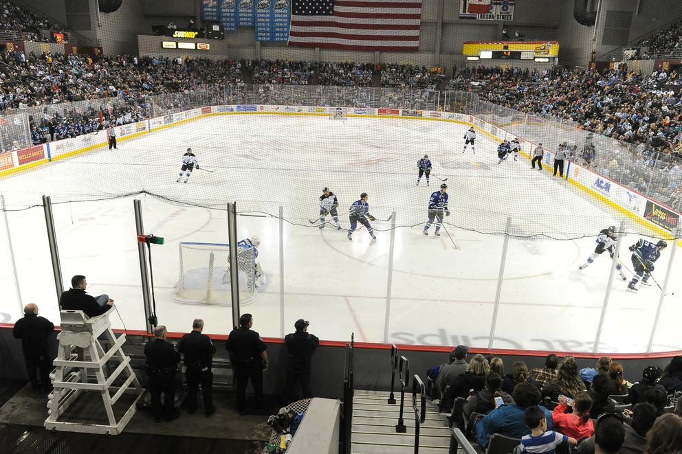 The Alaska Aces played their last game to a sold out crowd of fans at the Sullivan Arena on Saturday, April 8, 2017. The Aces lost to the Idaho Steelheads 3-2 in the last game of the franchise as declining revenues forced the closer of the team. (Bob Hallinen / Alaska Dispatch News)