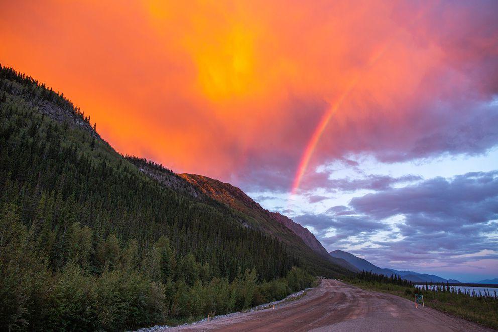 A rainbow appears over the Alaska Highway near Pickhandle Lake in the Yukon on June 28, 2015. (Loren Holmes / ADN archive)