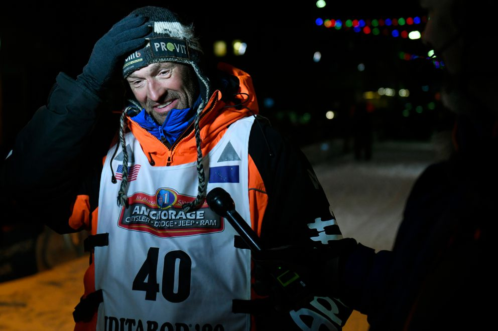 Thomas Waerner of Norway arrived in Nome to win early March 18, 2020, to win the Iditarod Trail Sled Dog Race. (Marc Lester / ADN)