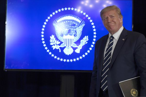 President Donald Trump arrives to speak at Trump National Golf Club Bedminster in Bedminster, N.J., Friday, Aug. 7, 2020. (AP Photo/Susan Walsh)