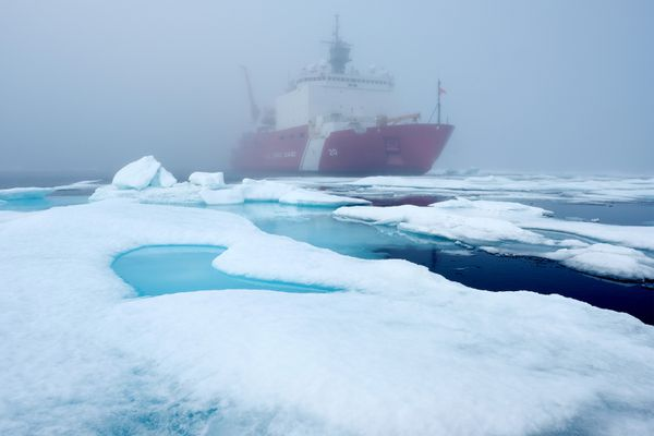 Ice floes and fog surround the U.S. Coast Guard Cutter Healy in the Arctic Ocean on July 29, 2017. The cutter is the largest icebreaker in the Coast Guard and serves as a platform for scientific reseach. MUST CREDIT: Washington Post photo by Bonnie Jo Mount