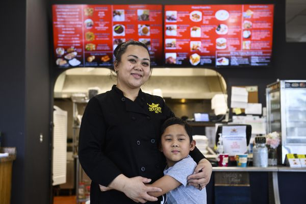 Jeepney Filipino-Hawaiian Fusion Food is located at 9191 Old Seward Highway in Anchorage. Owner Donna-Flor Manalo is photographed with her son, Samuel, 8, on April 19, 2020. (Marc Lester / ADN)