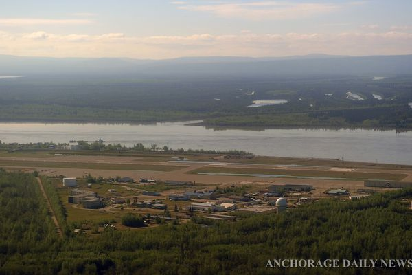 BOB HALLINEN / Anchorage Daily News The airport and facilities of the former US Air Force air station were untouched by the flood waters thanks to a dike built by the military. The Yukon hub village of Galena is recovering from the devastating flooding of the Yukon River with state officials saying that over 100 homes are uninhabitable. Photographed on Tuesday, June 11, 2013. 130611