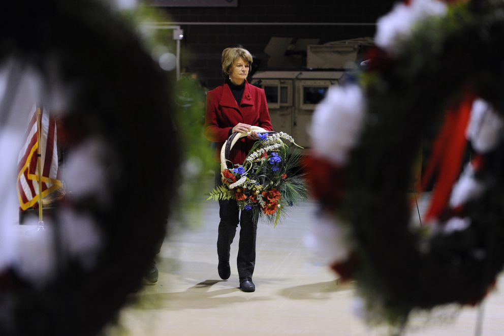U.S. Sen. Lisa Murkowski, R-Alaska, placed a wreath during the Veterans Day ceremony at the Alaska National Guard armory on Joint Base Elmendorf-Richardson on Sunday, Nov. 11, 2018. (Bill Roth / ADN)