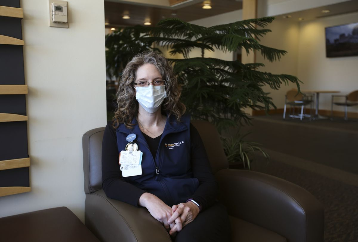 Registered nurse Heather Andersen inside Providence Alaska Medical Center in Anchorage on Monday, April 5, 2021. (Emily Mesner / ADN)