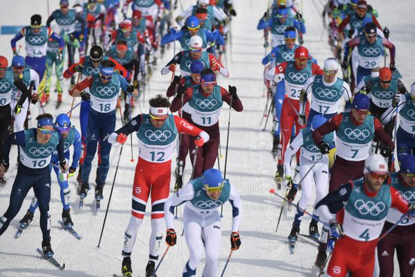 Competitors in the men's 50km mass start classic cross country skiing event, which was won by Finland, during the 2018 Winter Olympics at the Alpensia Cross-Country Skiing Centre in Pyeongchang, South Korea, Feb. 24, 2018. Surpassing its own lofty expectations, Norway has delivered the greatest performance in the history of the Winter Games, winning a total of 38 medals, 13 of them gold. (Hilary Swift/The New York TImes)