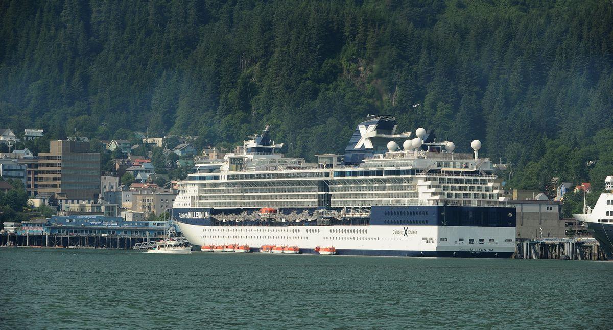The Celebrity Millennium cruise ship visits Juneau, AK on Tuesday, July 24, 2018. (Bob Hallinen / ADN)
