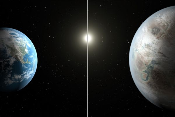This artist's rendering made available by NASA on Thursday, July 23, 2015 shows a comparison between the Earth, left, and the planet Kepler-452b. It is the first near-Earth-size planet orbiting in the habitable zone of a sun-like star, found using data from NASA's Kepler mission. The illustration represents one possible appearance for the exoplanet -- scientists do not know whether the it has oceans and continents like Earth.