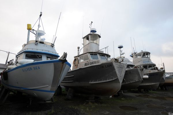 Commercial fishing boats rest in dry dock in Dillingham on Monday, August 26, 2013, after the sockeye salmon fishing season. Dillingham, Alaska, a fishing community of 2,300 is the largest town and hub of the Bristol Bay region. (Bill Roth/Anchorage Daily News/MCT)