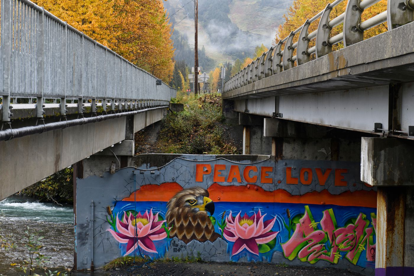 Some Girdwood residents invited Andrew Garcia to paint a mural under the Alyeska Highway near Glacier Creek after racist graffiti showed up there earlier this year. (Marc Lester / ADN)