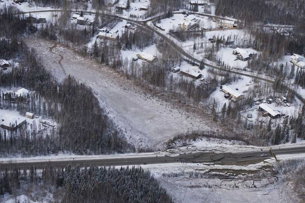 This aerial photo shows damage on Vine Road, south of Wasilla, Alaska, after a 7.0 earthquake and aftershocks Friday, Nov. 30, 2018. (Marc Lester/Anchorage Daily News)