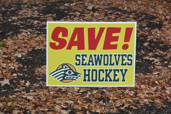Save Seawolves Hockey press conference outside the UAA Sports Complex on Monday, Oct. 19, 2020. (Bill Roth / ADN)
