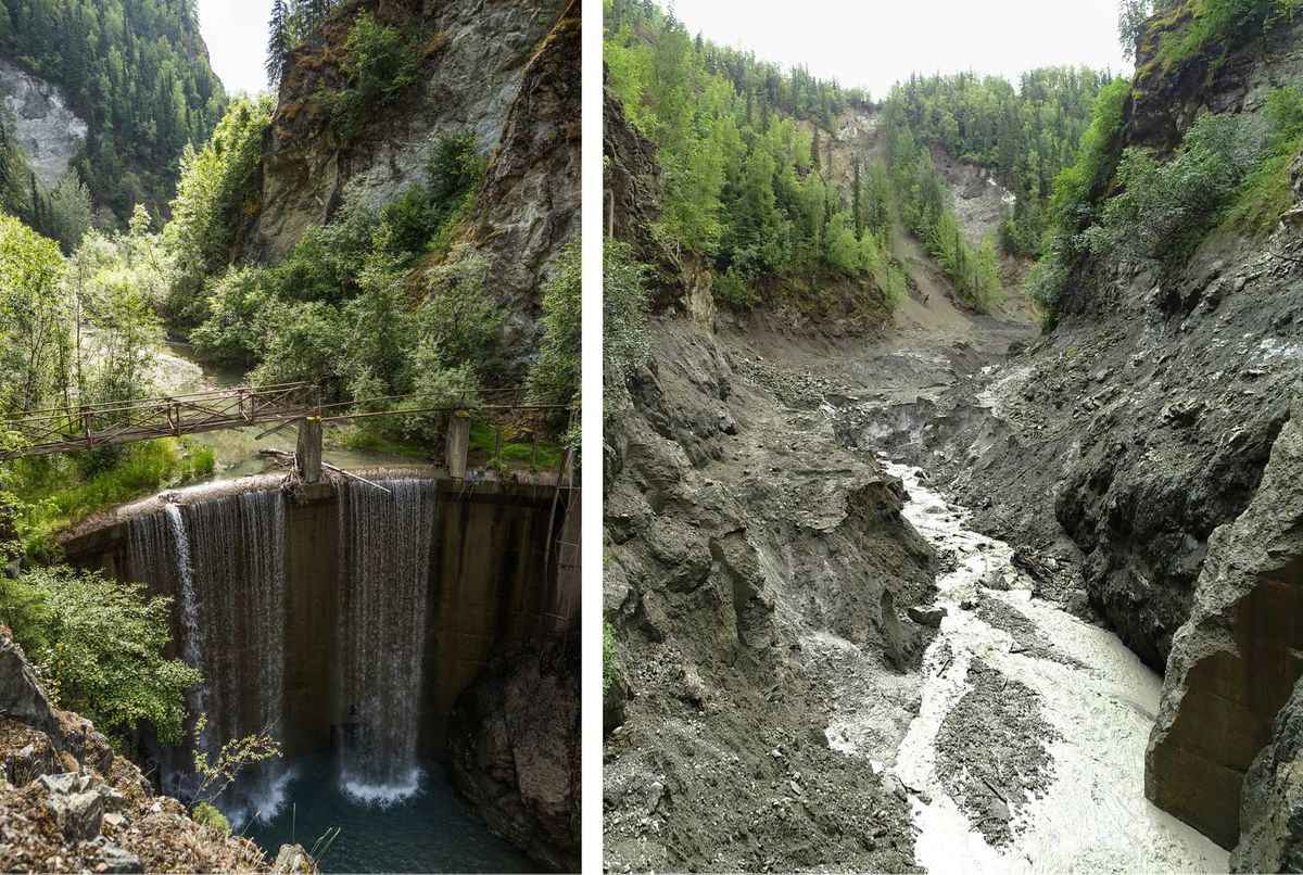 Eklutna River dam, July 2015 (left) Eklutna River, dam removed, Aug. 2018.    (Loren Holmes / ADN)
