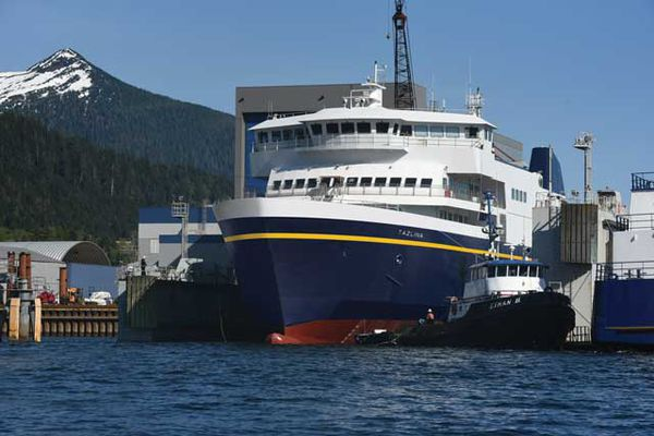 The M/V Tazlina is seen at the Vigor Industrial Shipyard in Ketchikan. The first of two