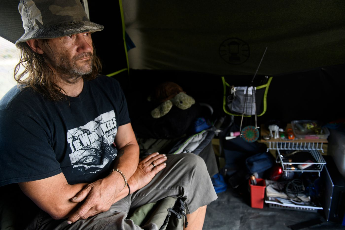 James McKinney stays in a new sanctioned tent camping facility a few blocks from the Nevada CARES Campus on June 24, 2021. 'I'm a very private person, and I just couldn't do it, ' McKinney said of staying at the large facility. (Marc Lester / ADN)