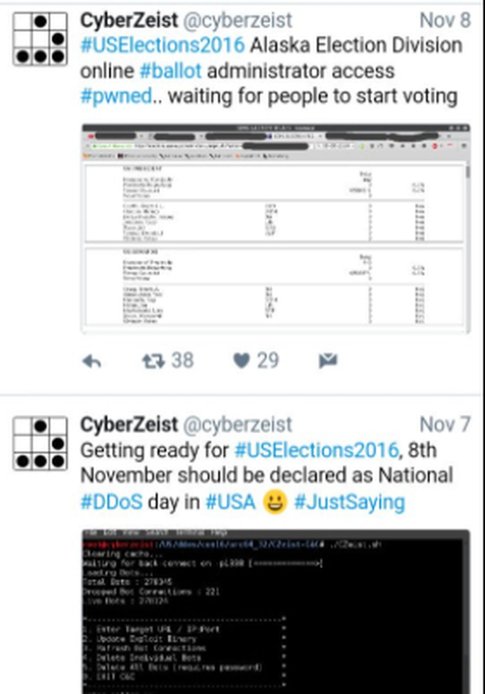 A Twitter user named CyberZeist touted his hack of one of Alaska's elections-related servers in 2016, in a screen grab captured by a blog, ForensicsXploited.blogspot.com.