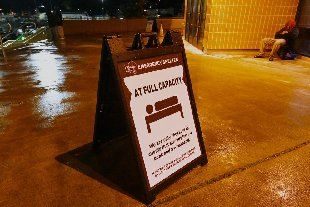The homeless shelter at Sullivan Arena reached full capacity on a rainy Wednesday evening, Oct. 14, 2020. (Bill Roth / ADN)