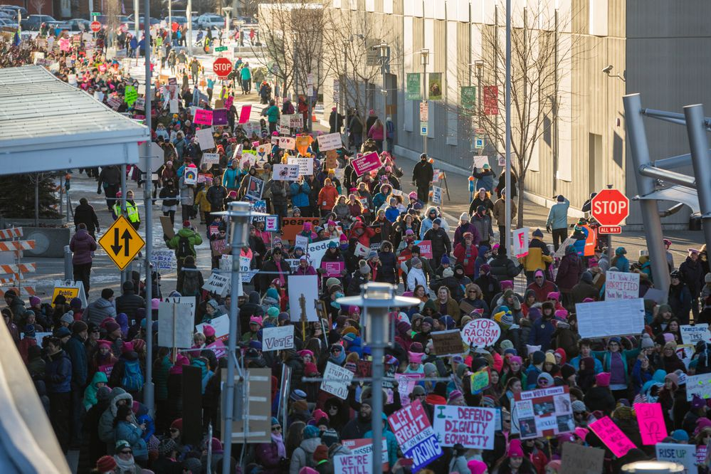 Organizers estimated over 3,000 people participated in the Women's March on Saturday, Jan. 20, 2018 in downtown Anchorage. (Loren Holmes / ADN)