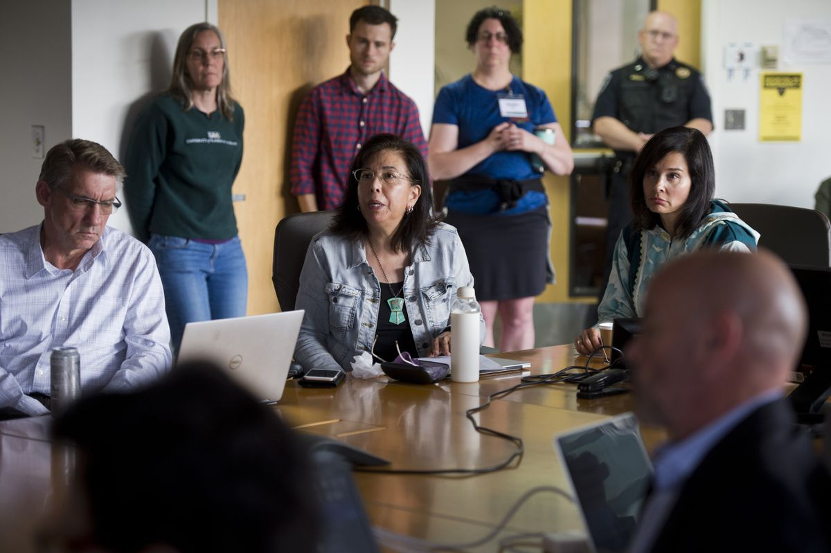 Maria Williams, a professor of Alaska Native studies at UAA who chairs UA's Faculty Alliance, asks the Board of Regents to hold off on declaring exigency. The University of Alaska Board of Regents met to consider declaring financial exigency on Monday. (Marc Lester / ADN)