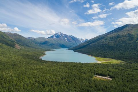 Eklutna Lake, in Chugach State Park, provides water for much of Anchorage. Photographed July 31, 2018. (Loren Holmes / ADN)