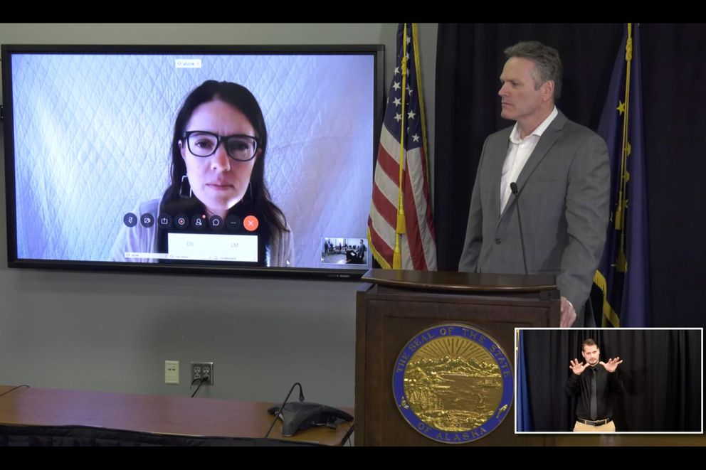 Alaska Chief Medical Officer Dr. Anne Zink and Gov. Mike Dunleavy at a news media briefing, Monday, March 30, 2020.