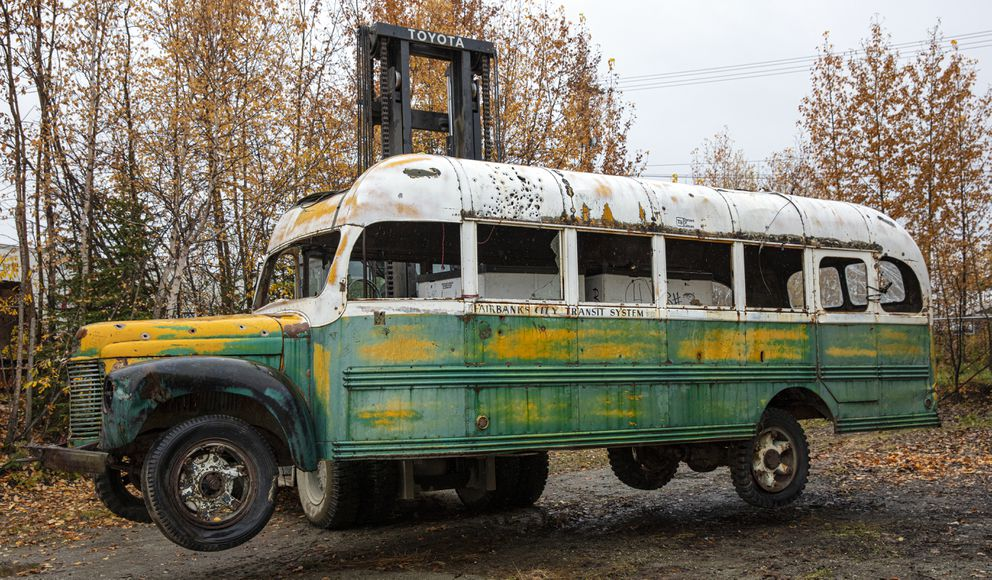 Bus 142 in Fairbanks, being positioned at the conservation yard. (Photo by Roger Topp / UA Museum of the North)