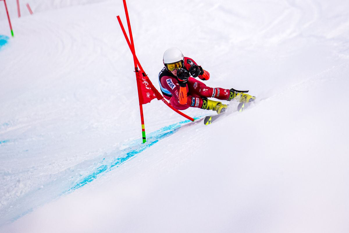 Moro Bamber, a U19 training with Vermont's Green Mountain Valley School, had the fastest first run in the FIS Tech series giant slalom Tuesday and finished the day second overall and won the men's U19 class. (Photo by Bob Eastaugh)