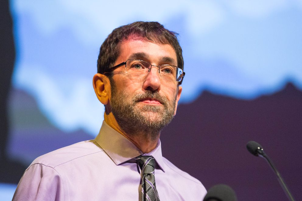 Jeff Jessee, CEO of the Alaska Mental Health Trust Authority, speaks at the Alaska Wellness Summit at the Glenn Massay Theater on Thursday. (Loren Holmes / Alaska Dispatch News)