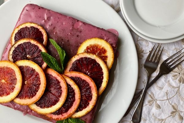 This blood orange-thyme snack cake is easier than it looks. (Julia O'Malley/ADN)
