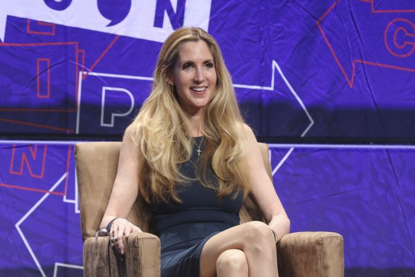 FILE - In this Oct. 20, 2018 file photo, Ann Coulter participates in the