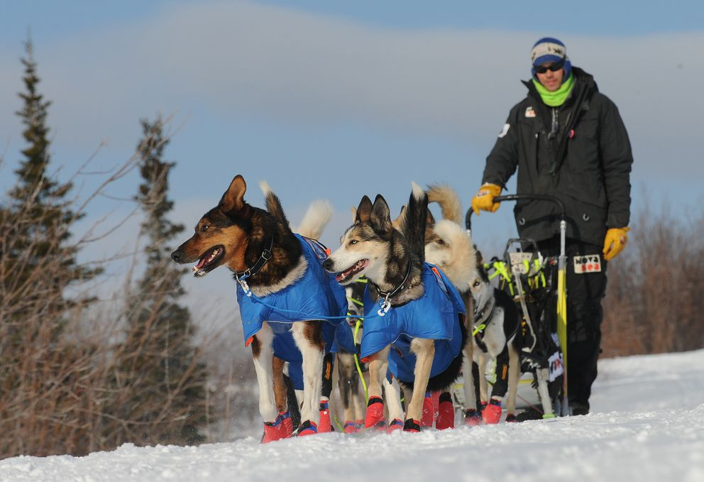 Iditarod musher Joar Leifseth Ulsom drives his dog team out of the village of Koyuk during the 2017 Iditarod Trail Sled Dog Race on Monday. (Bob Hallinen / Alaska Dispatch News)