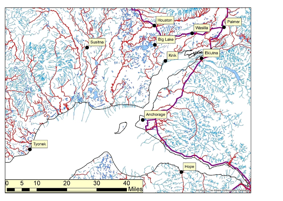 Figure 2: Streams of Southcentral Alaska. Anadromous streams are highlighted in red. The data sources are the same as Figure 1. (graphic by Peter Illig)