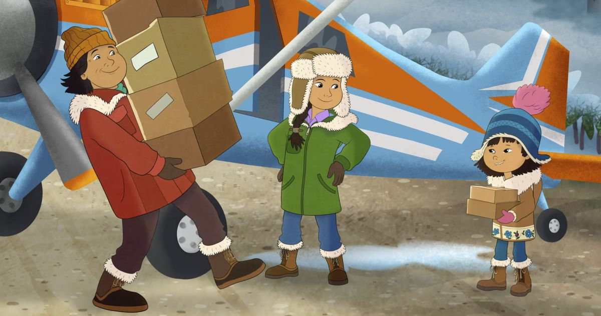 From right, Molly, voiced by Sovereign Bill, her mother, voiced by Jules Koostachin, and father, voiced by Ron Harris, in a scene from the animated series