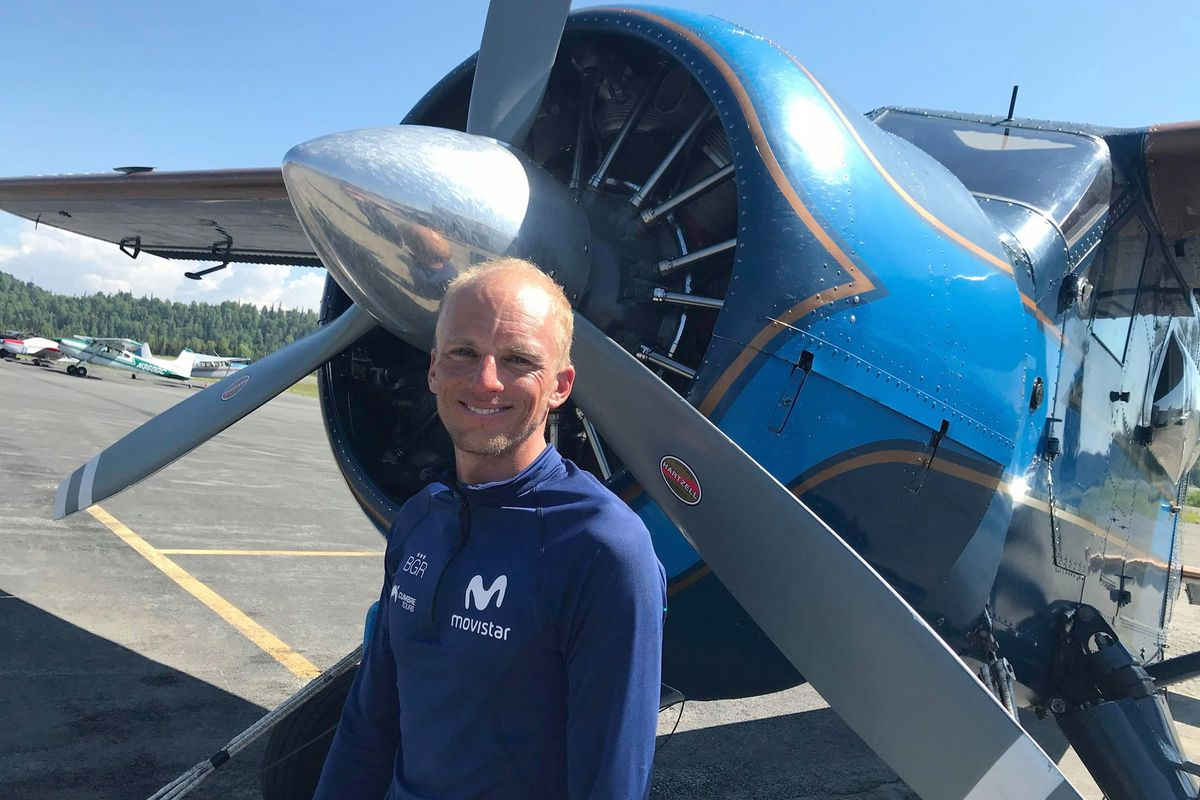 Climber Karl Egloff just returned to Talkeetna from breaking a speed record on Denali, Friday June 21, 2019. (Photo by Holly Sheldon Lee)