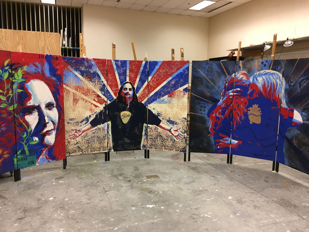 Murals created by Steve Gordon's beginning painting class at UAA, Feb. 8, 2018. (Charles Wohlforth / ADN)