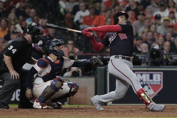 Washington Nationals' Juan Soto hits a home run during the fifth inning of Game 6 of the baseball World Series against the Houston Astros Tuesday, Oct. 29, 2019, in Houston. (AP Photo/David J. Phillip)