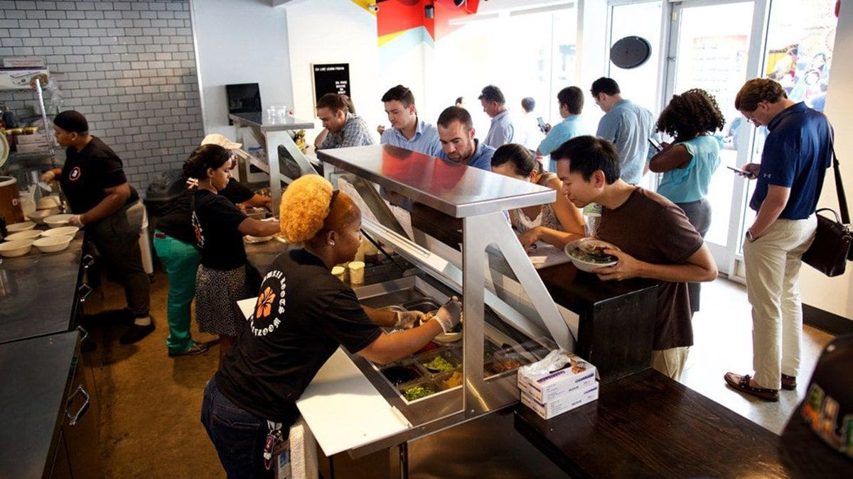 The lunch crowd at Abunai poke shop in Washington. Photo by Deb Lindsey for The Washington Post.