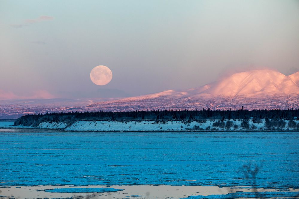 The full moon sets behind Mt. Susitna Tuesday morning, Feb. 19, 2019. (Loren Holmes / ADN)