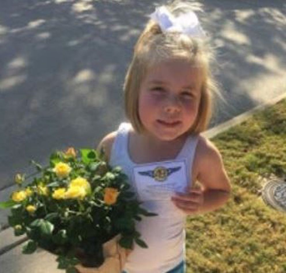 Hadley Shilson, 5, a friend of the Damm family, delivered flowers to her neighbor on Nov. 4. (Courtesy of Tyra Damm)
