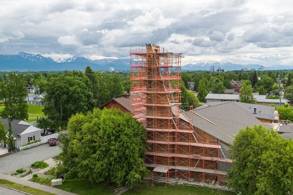 Scaffolding wraps around the steeple at First Presbyterian Church in downtown Anchorage on Wednesday, June 13, 2019. (Loren Holmes / ADN)