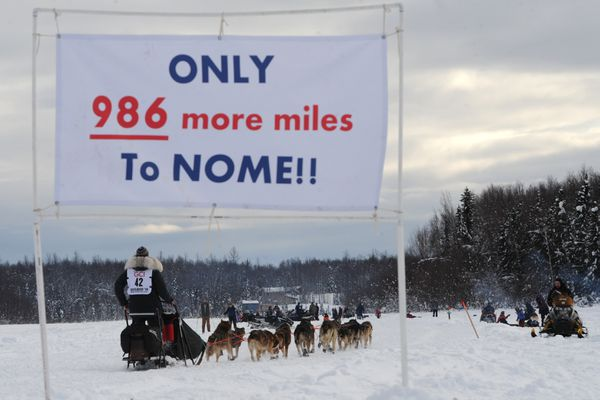 Iditarod rookie Niklas Wikstrand of Norway crosses Emswiler Lake during the restart of the Iditarod Trail Sled Dog Race in Willow on Sunday afternoon, Mar. 3, 2019. (Bill Roth / ADN)