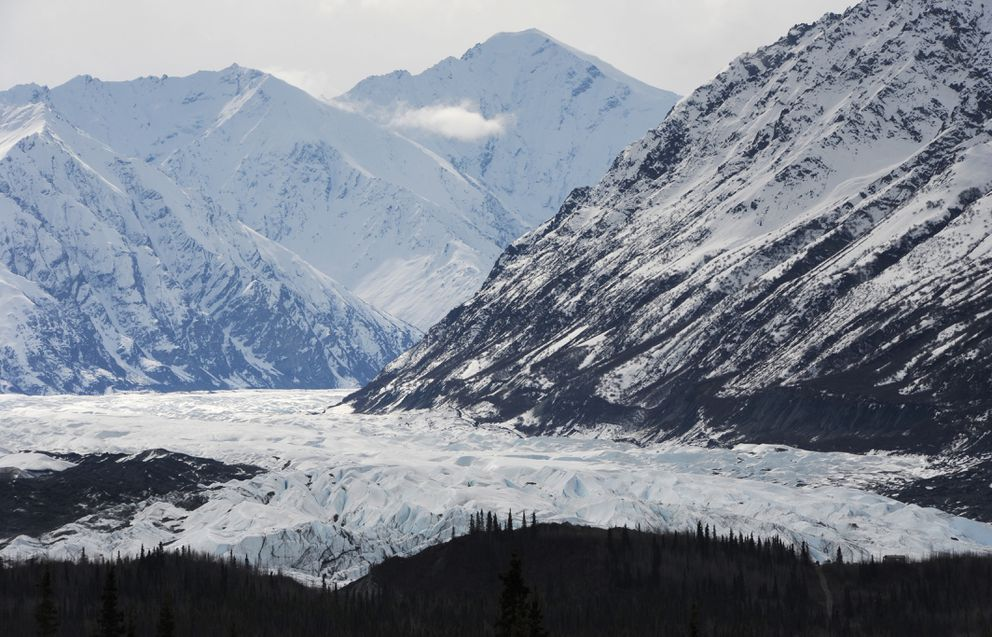 View of Matanuska Glacier from Glenn Highway on Wednesday, May 3, 2017. (Bill Roth / Alaska Dispatch News)