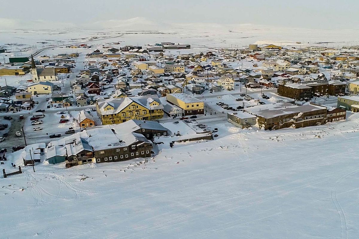 Nome and the Seward Peninsula beyond, on March 13, 2018. (Loren Holmes / ADN)